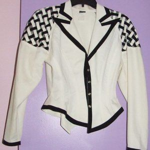 IIF Jacket and Skirt in White & Black Trim; Size 4